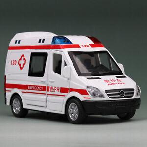 Ambulance 1//36 Model Car Diecast Toy Vehicle Gift Pull Back Kids White