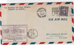 toronto exhibition 1928 via airmail  stamps cover ref 12915