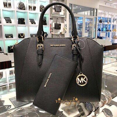 Michael Kors Ciara Large Satchel Saffiano Leather Bag Wallet Set Black   eBay