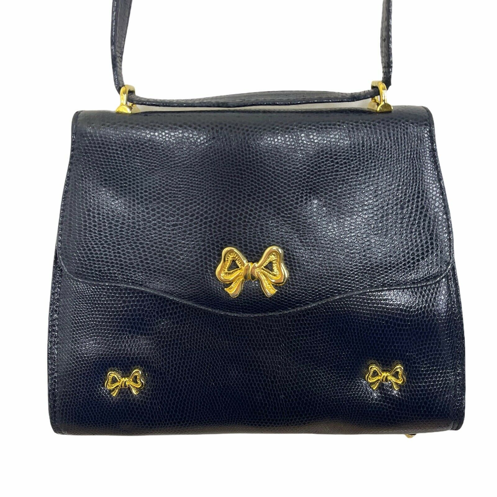 ARNOLD SCAASI NAVY LIZARD LEATHER WITH BOWS WOMEN… - image 5