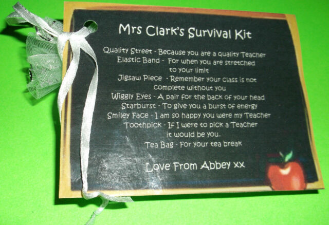 Teacher End of Term Xmas Gift Survival Kit Gift Bag Personalised Birthday Gift