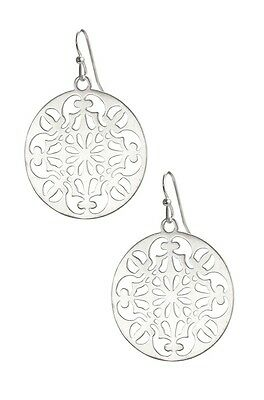 Silver Celi Hollow Out Feather Weight Silver Disc Brand Dot Earrings