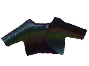 Taille Trois M Fait Quart Manches Multicolore Tricot Main Gilet xTqp006a