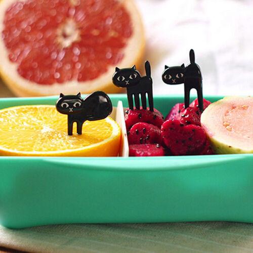 6X Mini Animal Fork Fruit Picks Cute Cartoon Cat  Fork Bento Lunch Box DecorPVCA
