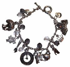 Alice in The Wonderland ( 11 Themed Charms) Silvertone Charm Bracelet