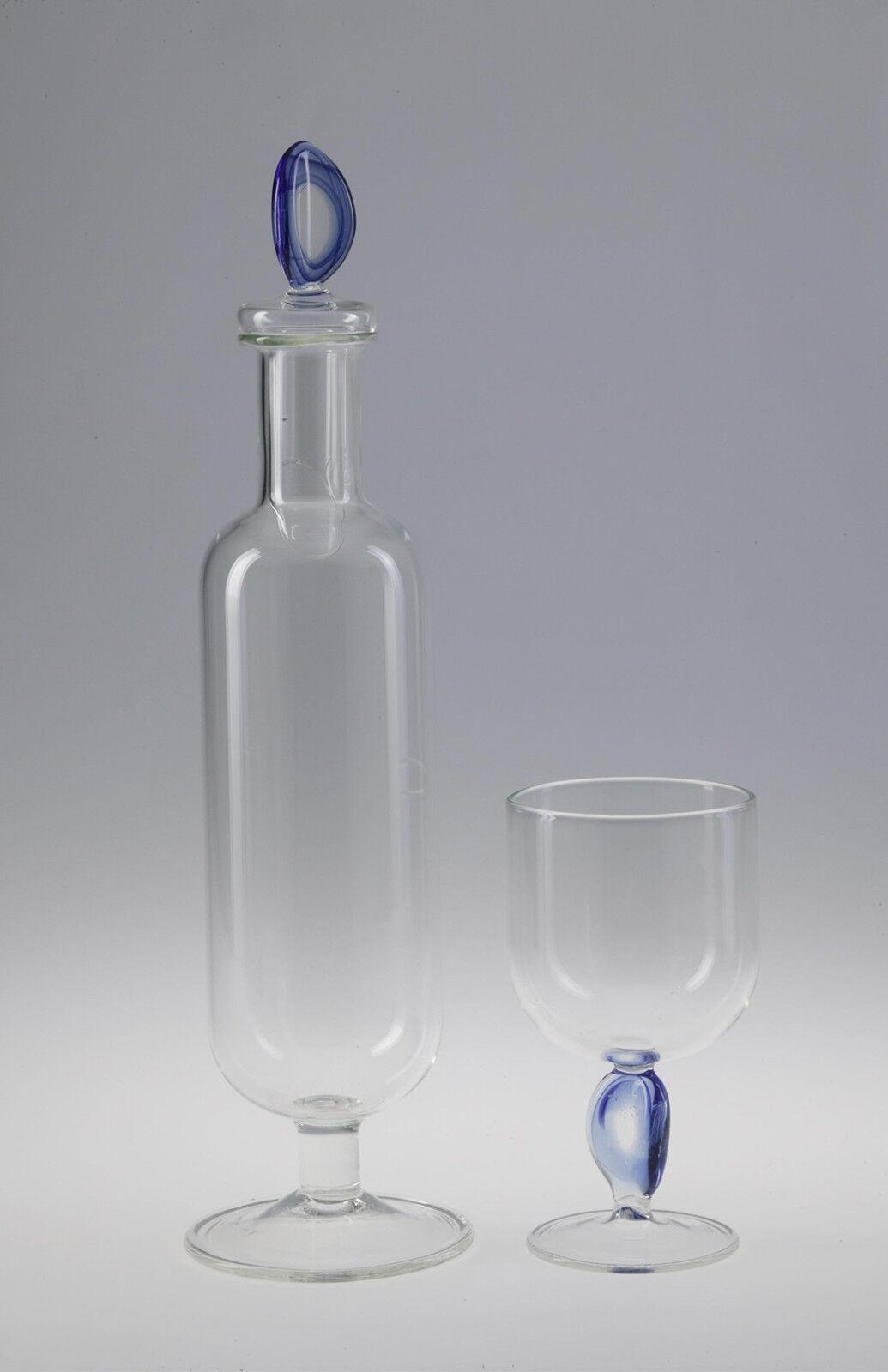 Massimo lunardon-eau carafes avec 6 verres. handgeblasenes kunstglas