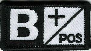 Noir Blanc Alerte Médicale Sang Type B + Positif Patch hook & loop tape