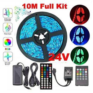10M-5050-RGB-LED-Strip-Light-600-Leds-Sound-Sensor-Controller-24V-1A-Power-Kit