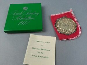 TOWLE-1977-Sterling-Silver-Medallion-Christmas-Ornament-w-Box