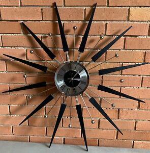 Vintage-50s-60s-ELGIN-Starburst-Atomic-Era-Wall-Hanging-Clock-Mid-Century-Modern