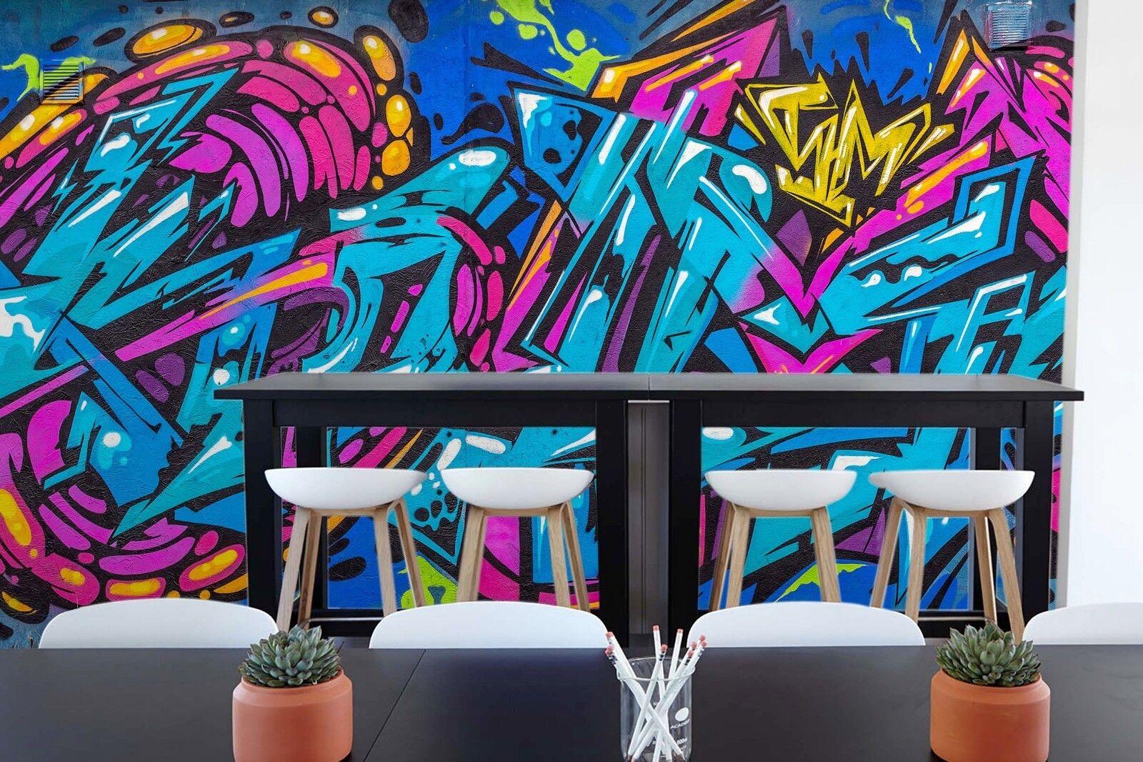 3D bluee Purple Graffiti 562 Wall Paper Wall Print Decal Wall Deco Indoor Murals