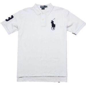 Ralph Lauren Kinder Jungen Polo T Shirt Weiss Uni Big Pony Polo