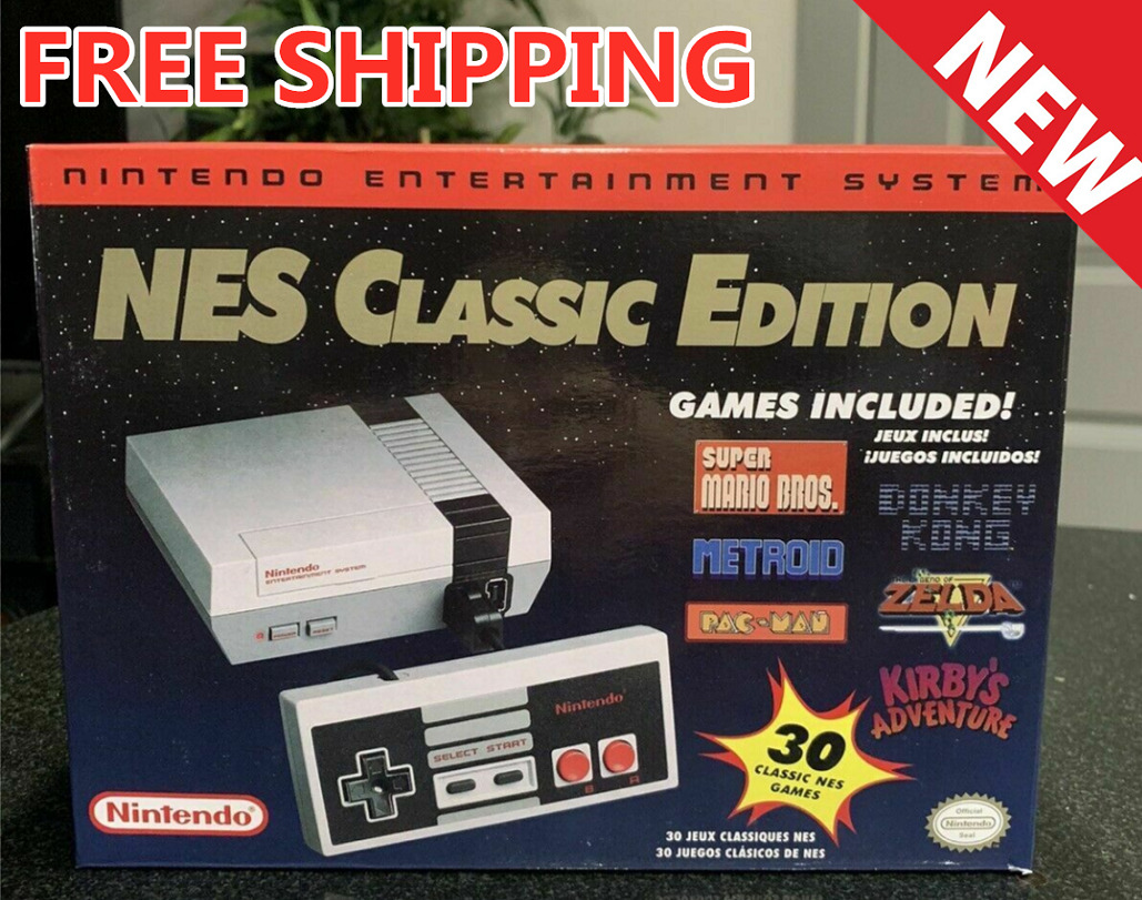 New Authentic Nintendo Classic Edition NES Mini Game Console W/ 30 Games HD Outp
