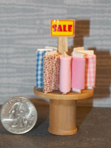 Dollhouse Miniature Sewing Shop Fabric Table Display 1:24 1//2 inch scale G89A