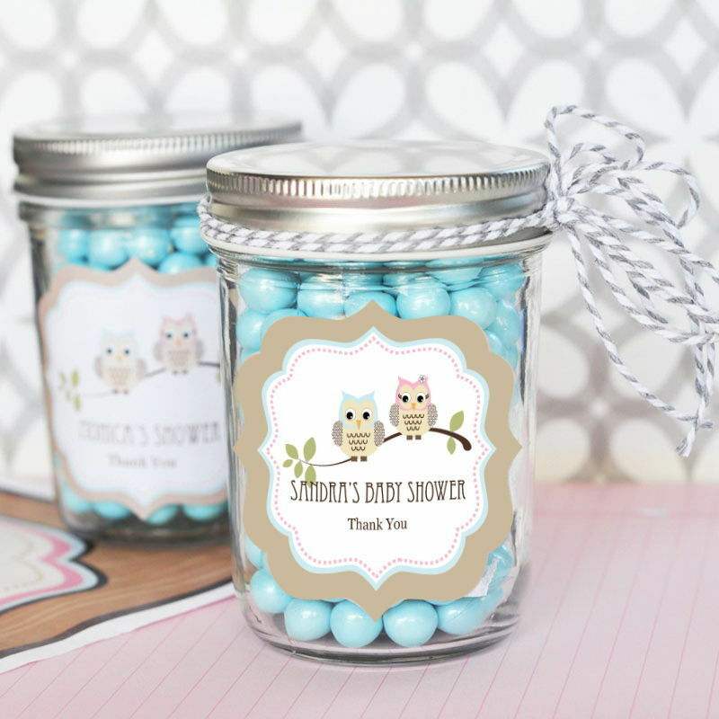 48 Personalized Woodland Owl Theme Mini Mason Jars Baby Shower Favors