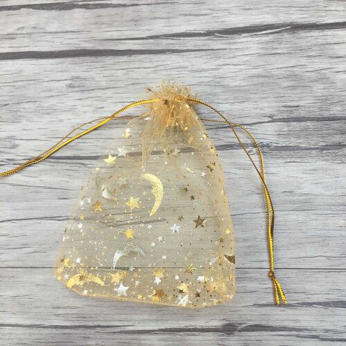 50pcs Lune Étoile Organza Cadeau Sacs Mariage Fête Bonbon Bijouterie Pochettes