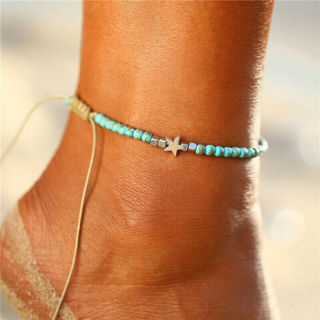 Boho Women Beach Foot Chain Turquoise Sandal Anklets Beads Bracelet Jewelry
