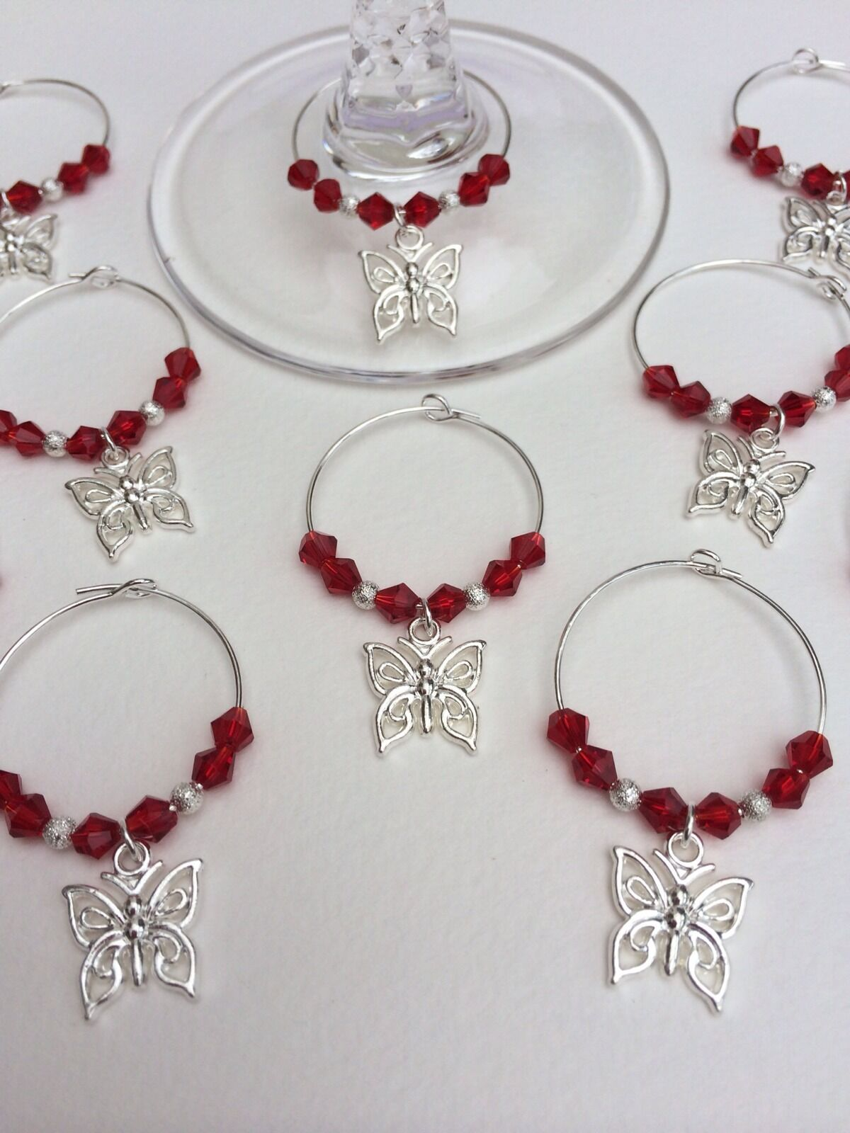 100 Butterfly & Crystal Wine Glass Charms. Wedding, Favours, Party, Hens