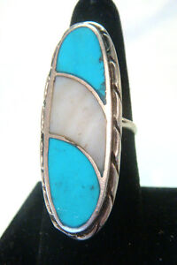 Sterling Silver Unique Ring W Turquoise Amp Mop Stone Size