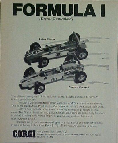 1969 Corgi Diecast Cars~LOTUS CLIMAX~COOPER MASERATI Vintage Toy Memorabilia AD