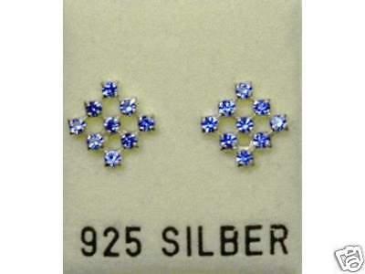 Generoso Nuovo Argento 925 Orecchini A Bottone Con Swarovski Pietre Zaffiro/blu Orecchini Sapphire-mostra Il Titolo Originale