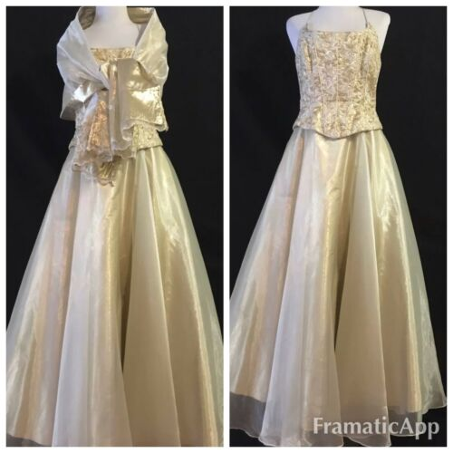 🌹DOLLAR Women's Brocade Gold Lame Wedding Formal