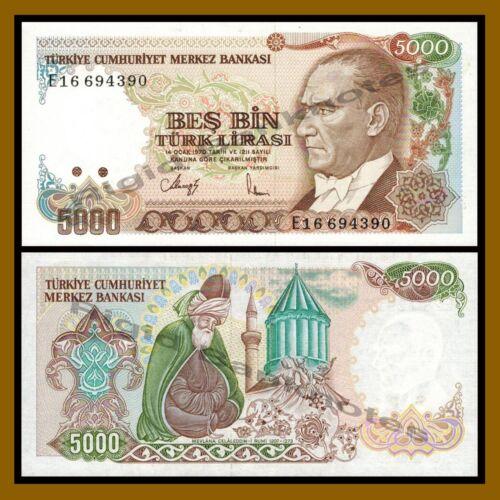 1985 P-197 Jalal Aldeen Al Rumi Law 1970 Unc Turkey 5000 Lira 5,000