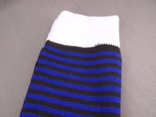 Blue Black Wht thin skinny narrow stripes striped knee socks womens ladies 9-11