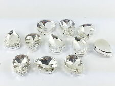 10pcs 13x18mm Faceted GLASS Sew On PEAR Silver Set Crystals Diamante MONTEES