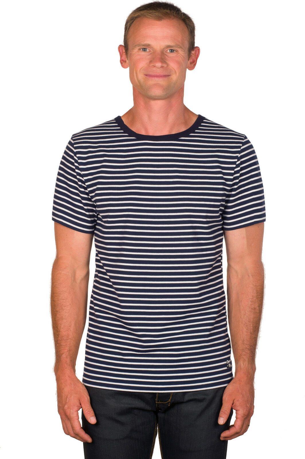 Ugholin Men's bluee and White Breton Striped Short Sleeve Cotton T-Shirt