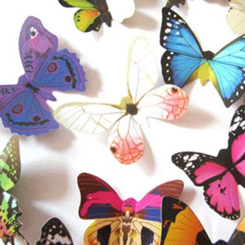 24PCS 3D Butterfly Art Decal Wall Stickers//Magnetic Home Room Decor Decorations