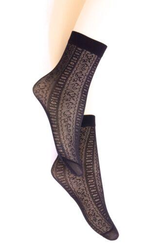 5 Paires Neuf Filles Femmes Noir Motif Floral Cheville Chaussettes Taille Unique P18