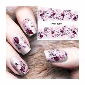 Nail-Art-Water-Decals-Stickers-Transfers-Purple-Spring-Flowers-Gel-Polish-8058