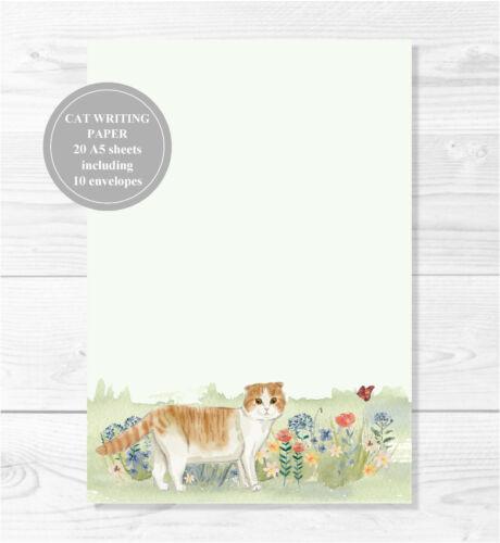 Letterhead Note Cat Writing Paper Stationery Set Handmade Ginger /& White Cat
