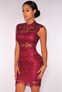 7b562c726029 Details about Vestidos Ropa de Moda Para Mujer Cortos Bonitos Casuales De  Fiesta Encaje Rojos