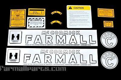 Mylar Decal Set For Farmall Super C Tractors.