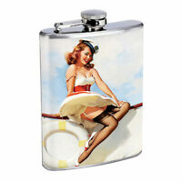 Flask 8oz Stainless Steel Classic Vintage Model Pin Up Girl Design-066 Whiskey