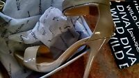 Womens High Heels Strap/open Toe Shoes By Wild Diva Size 8.5 Natural Color
