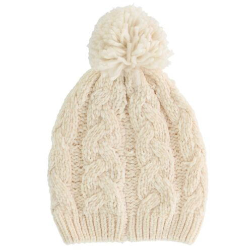 New Alexa Rose Women/'s Chenille Cable Knit Beanie Cap with Knit Pom