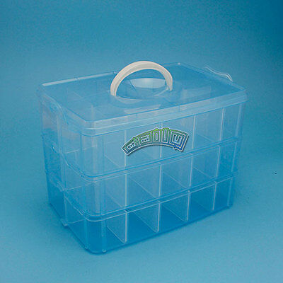 Plastic Empty 3 layer Storage Case Box 30 Slots Jewelry Nail Art Craft Organizer