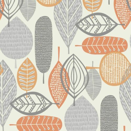 Arthouse Malmo Reto Leaf Pattern 10m Wallpaper 902301 Grey//Orange
