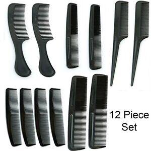 Estilo-de-Pelo-Peine-Set-Profesional-Cepillo-Negro-Peluqueria-Barberos-12-Pieza