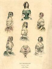 """Antique French Lithograph, """"Le Papillon. Journal de Modes"""", Fashion, Paris, 1843"""