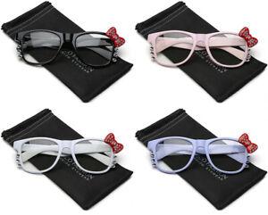 da60cb5a7 Image is loading Hello-Kitty-Non-Prescription-Rhinestone-Glasses-Women-Teen-