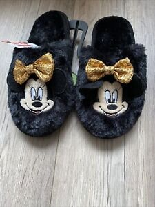 Girls Disney Minnie Mouse Cosy Fluffy Slippers Shoe Size uk 5 Primark Brand New
