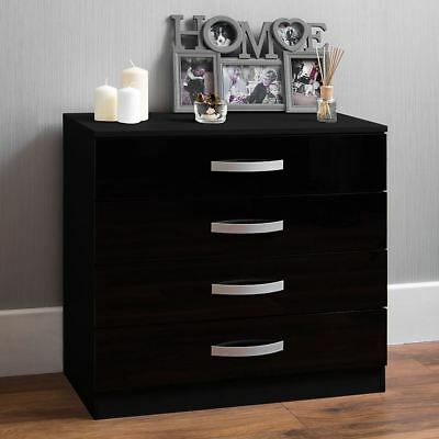 Hulio High Gloss Chest Of Drawers Black 4 Drawer Metal Handles Bedroom Furniture