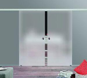 Schiebetür glas  Soft Stop SlimLine Doppel Glasschiebetür Glas Schiebetür satiniert ...