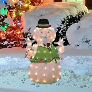 Details about Lighted Tinsel Rudolph Movie Sam The Snowman Sculpture Outdoor Christmas Decor