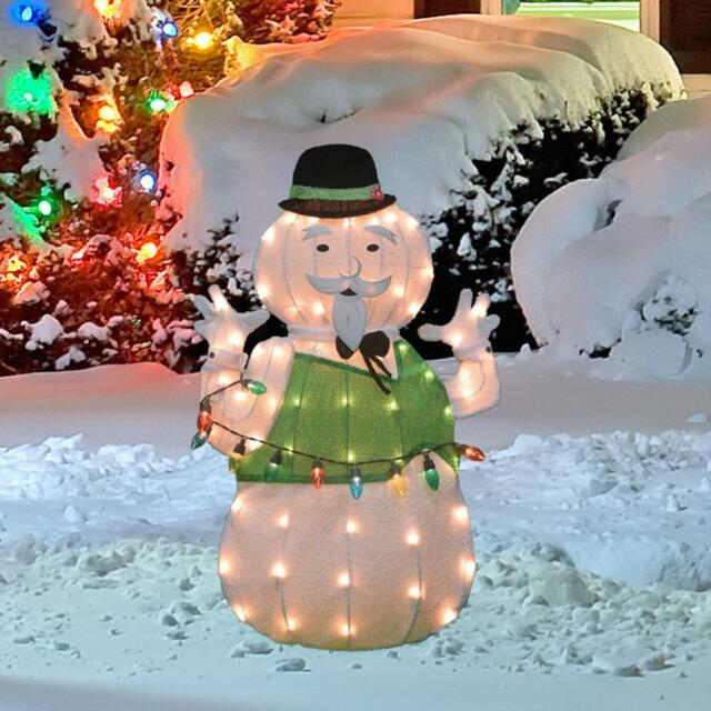 Lighted Tinsel Rudolph Movie Sam The Snowman Sculpture Outdoor Christmas Decor
