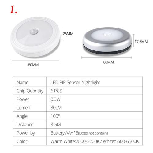 1//4 Pcs Wireless Night Light PIR Motion Auto Sensor 6 LED Lamp Battery Operated